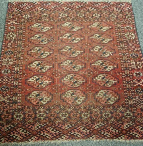 262: 30 X 36IN ANTIQUE PERSIAN RUG BAKHARA REGION