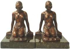 489 PAIR OF BRONZE PATINATED ART DECO FIGURAL BOOKENDS