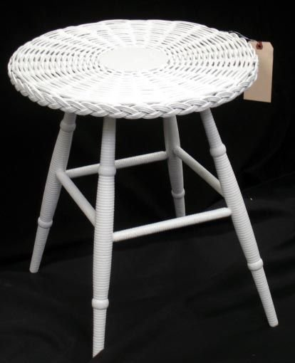 259C: 259C. PAINTED WICKER SIDE TABLE