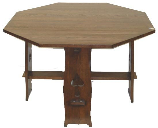 804: OAK ARTS AND CRAFTS OCTAGONAL CENTER TABLE