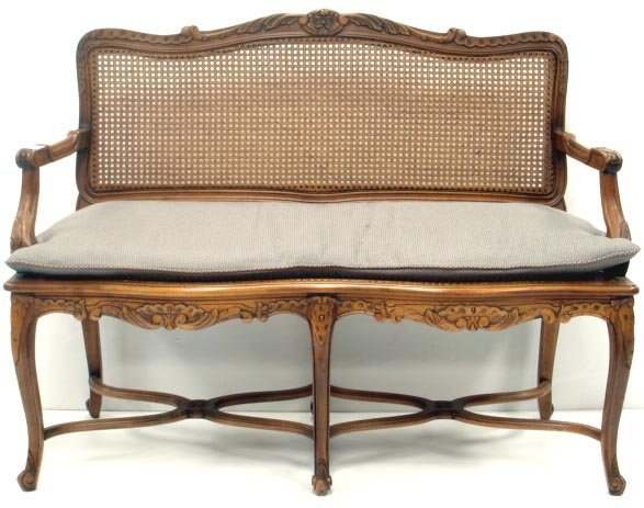 812: CARVED FRENCH LOVE SEAT WITH CANE