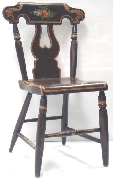 820: SET OF 6 EARLY PAINT DECORATED CHAIRS