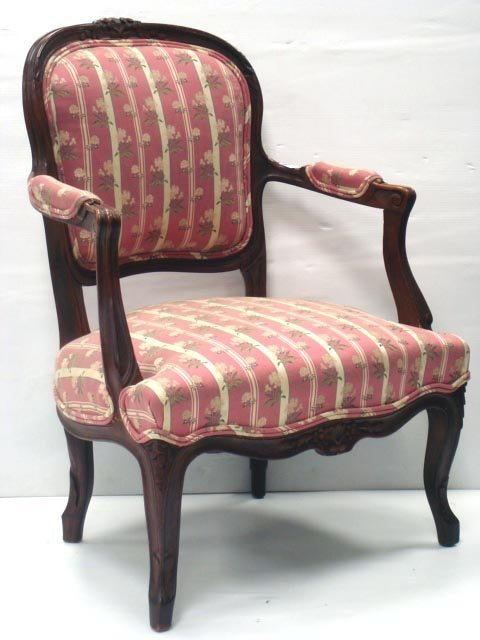 821: PAIR CARVED LOUIS XV STYLE ARMCHAIRS