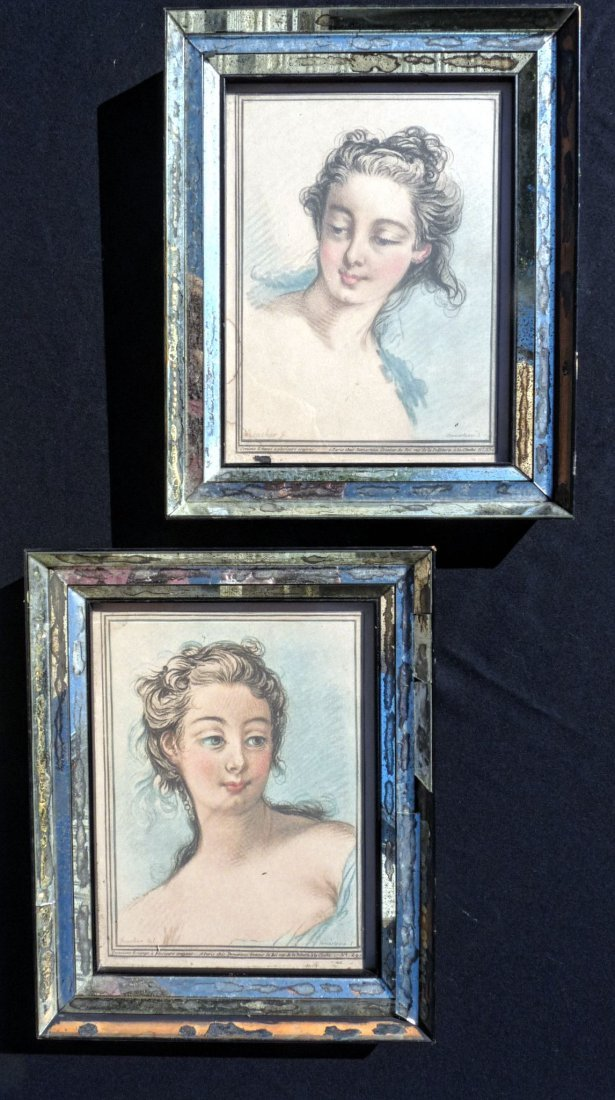 Pair of Mirrored Frames with colored prints