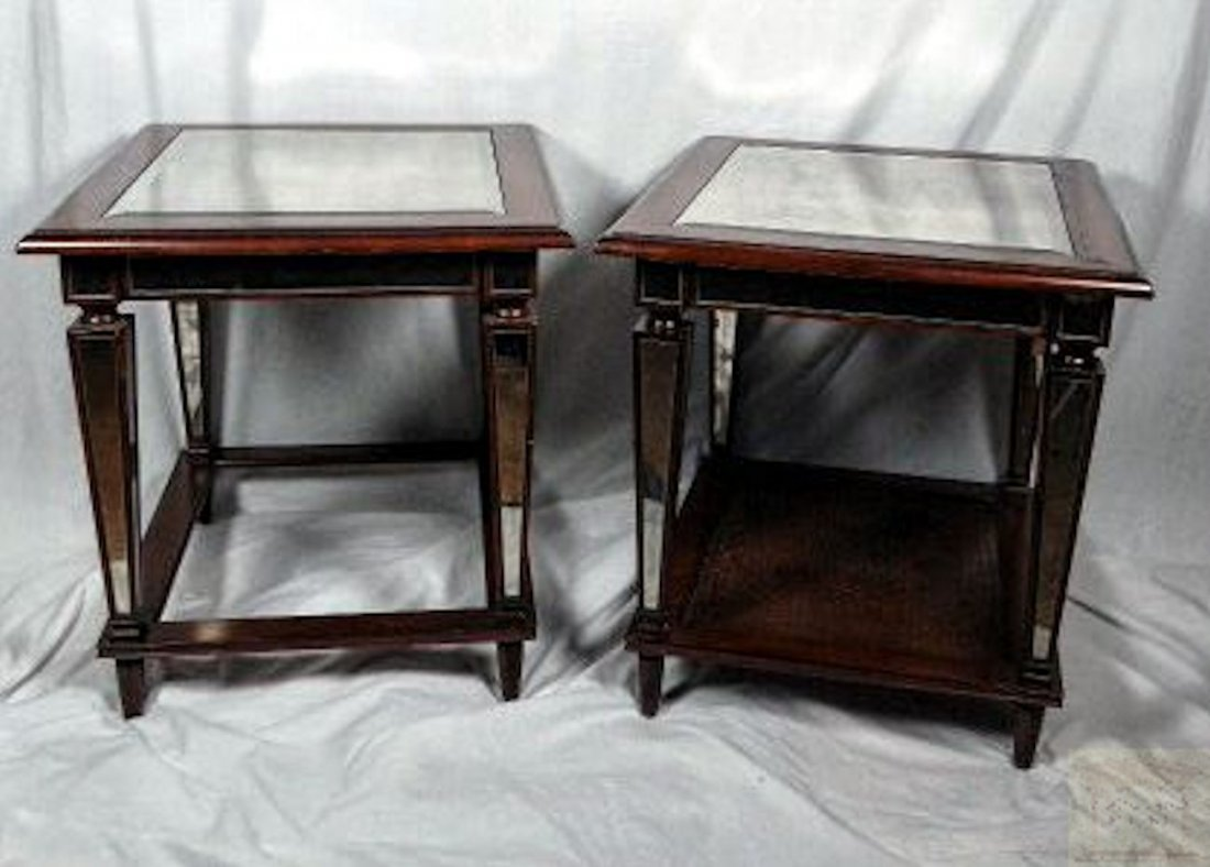 Pair of Mid Cent Mirrored Table