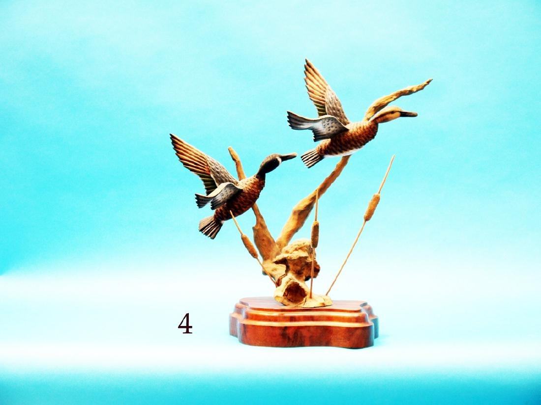 VERY FINE PAIR OF FLYING BLUE  WING TEAL by Jim Owen.