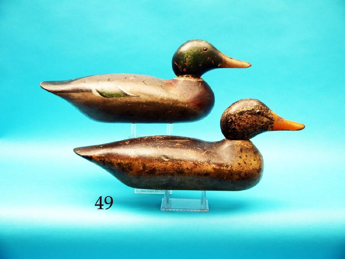 NICE PAIR OF MALLARDS by the  Mason Decoy Co., Detroit,
