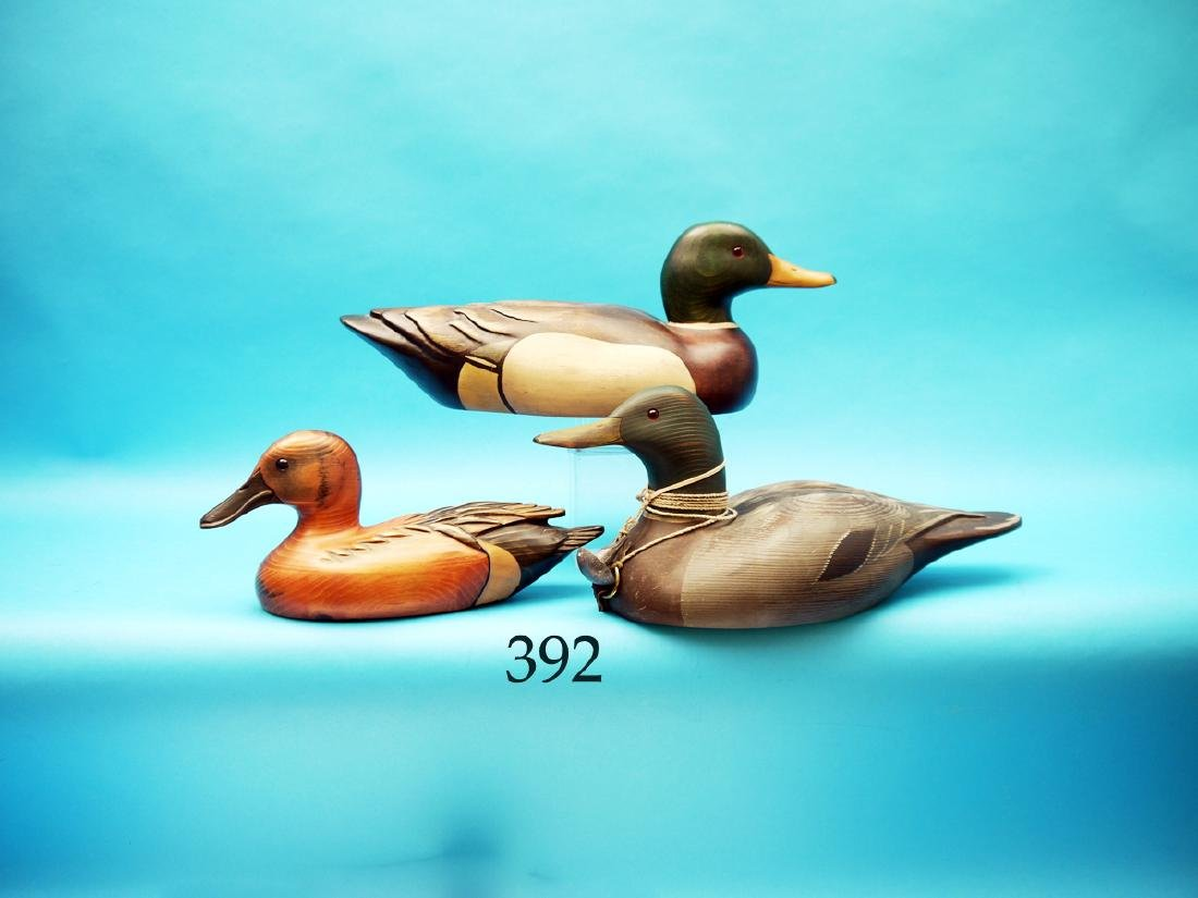 THREE DECORATIVE DECOYS  consisting of two MALLARD