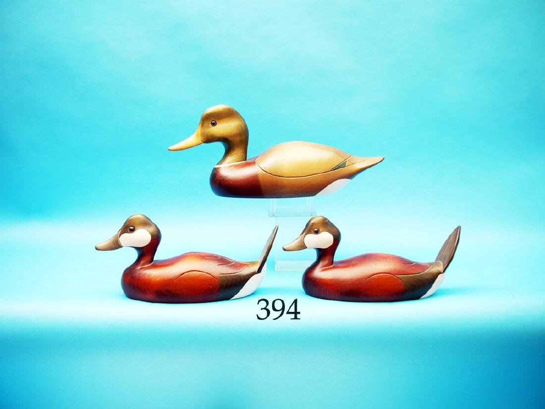 THREE DECORATIVE DECOYS consisting  of two RUDDY DUCKS