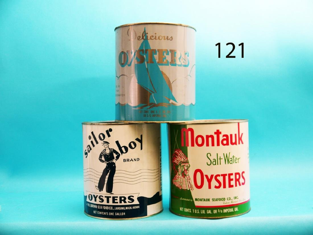 GROUP OF THREE OYSTER TINS, consisting of MONTAUK