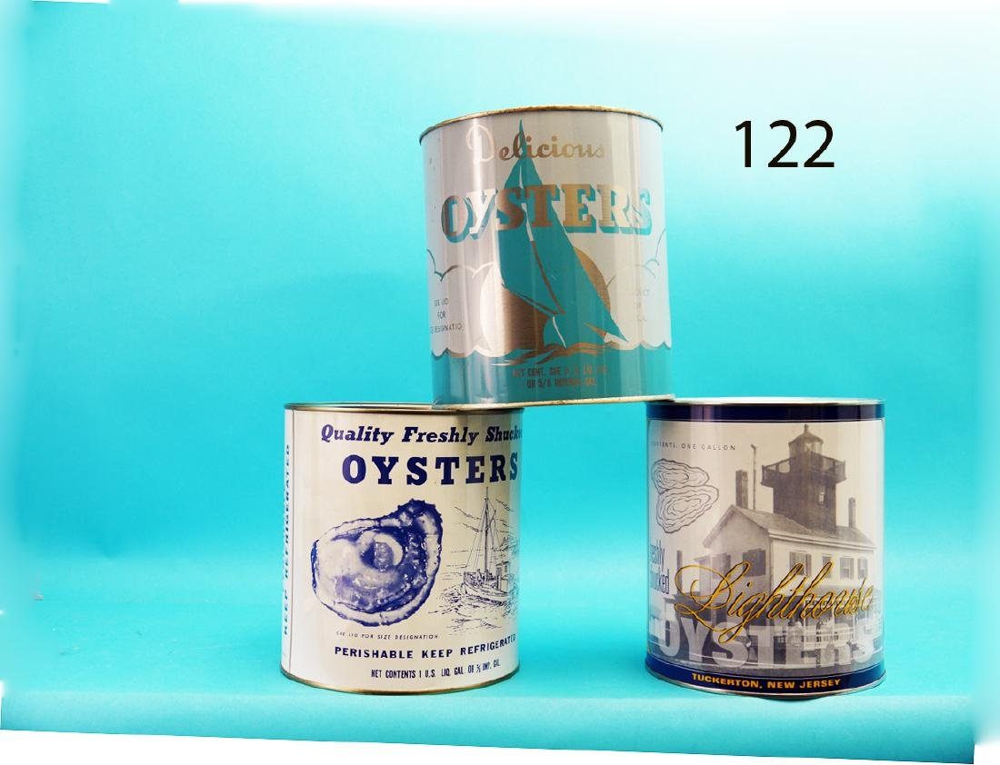 THREE ONE-GALLON OYSTER CANS consisting of LIGHTHOUSE,