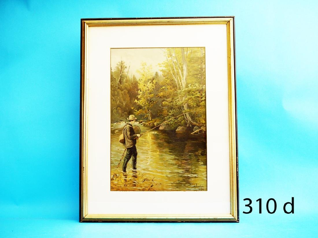 VERY EARLY LITHOGRAPH by H. Sandham. Depicts an angler