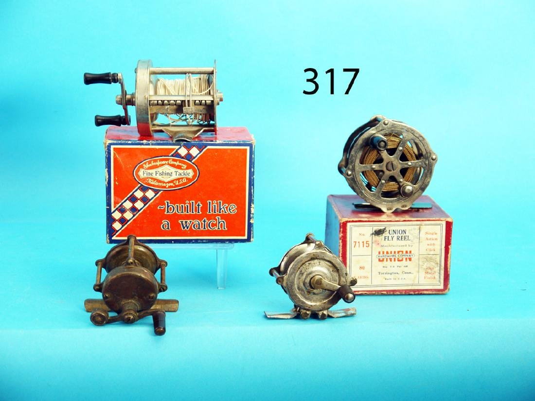 GROUP OF FOUR VINTAGE FISHING REELS. One is by Union