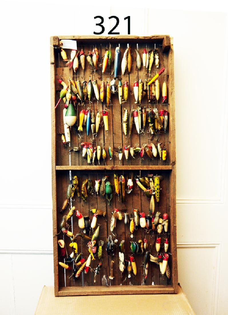 ONE OF A KIND ANTIQUE FRESH WATER BAIT DISPLAY,