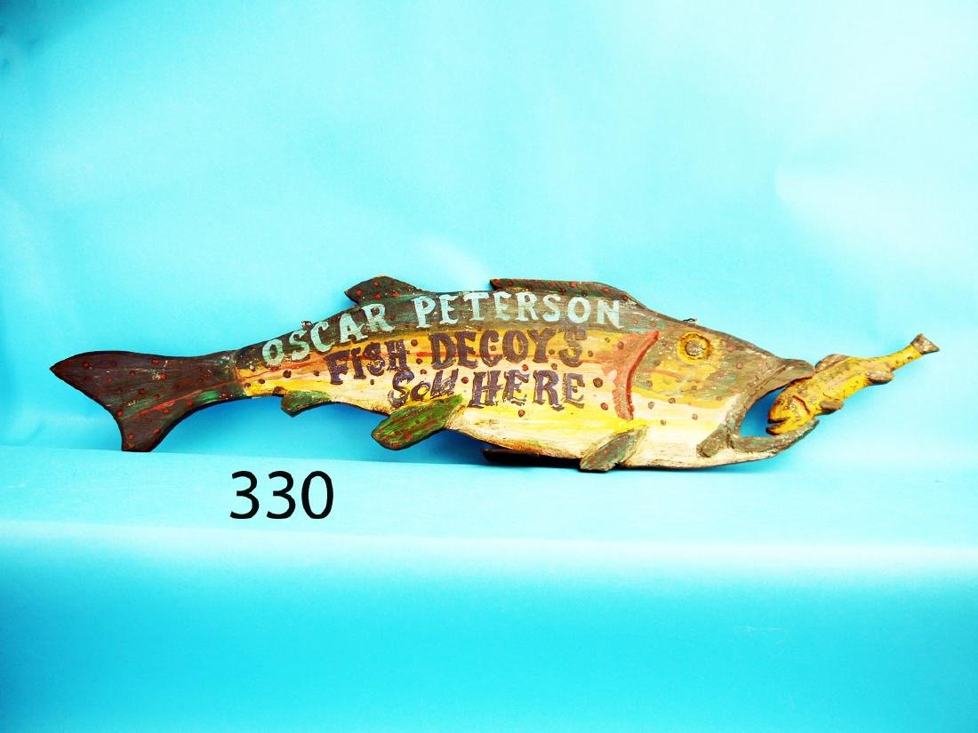 WHIMSICAL TROUT TRADE SIGN, depicting a leaping trout