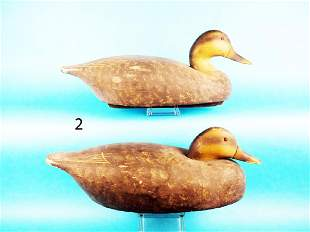 TWO BLACK DUCKS by the Wildfowler Decoy Co