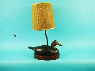 ONE-THIRD SIZE BLACK DUCK LAMP, WILDFOWLER