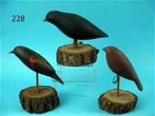 THREE FOLK ART BIRD CARVINGS