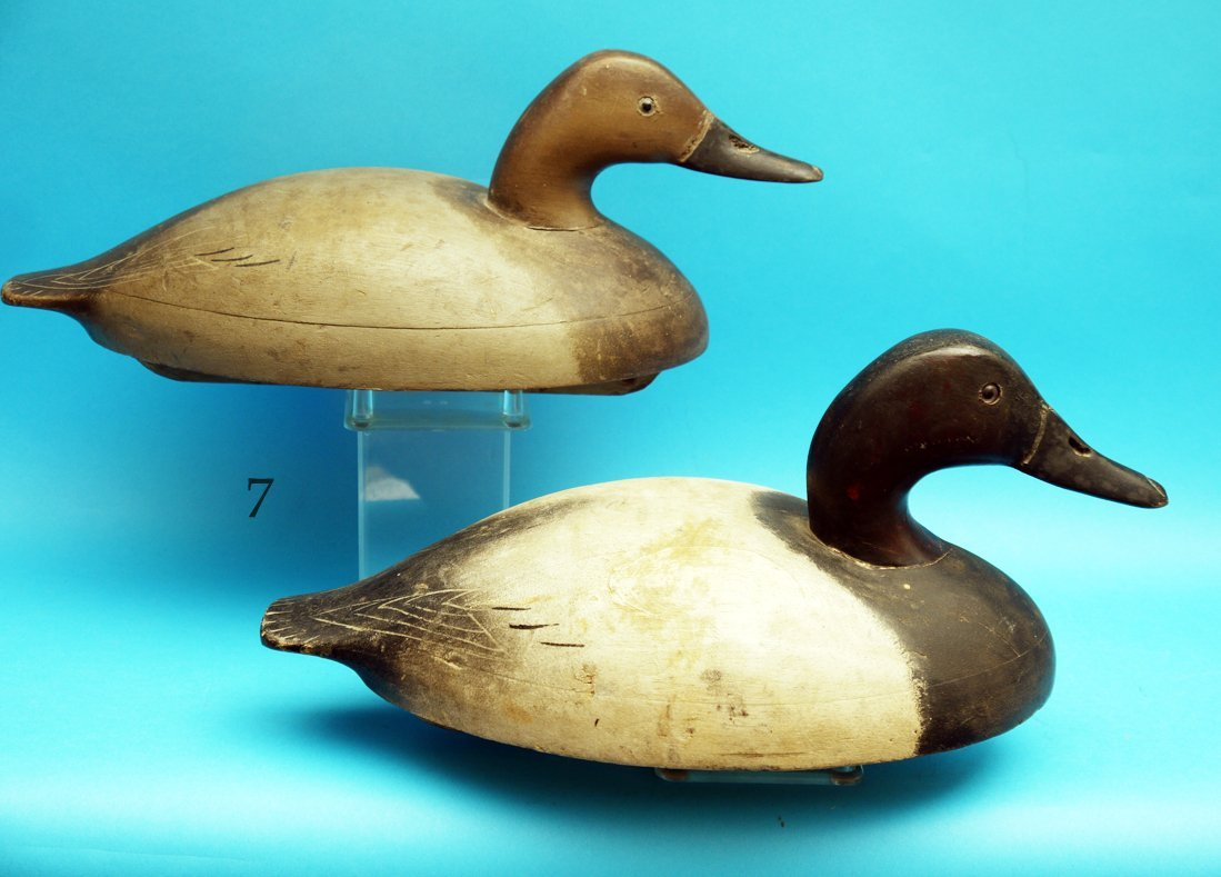 EARLY PAIR OF CANVASBACKS by the Wildfowler Decoy Co.,