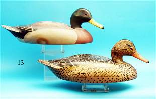 EARLY PAIR OF MALLARDS by the Wildfowler Decoy Co.,