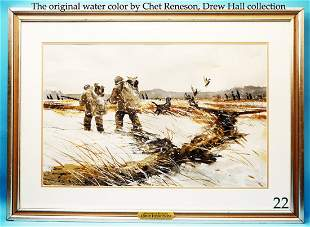 VERY FINE WATERCOLOR, �Startled Blacks� by Chet