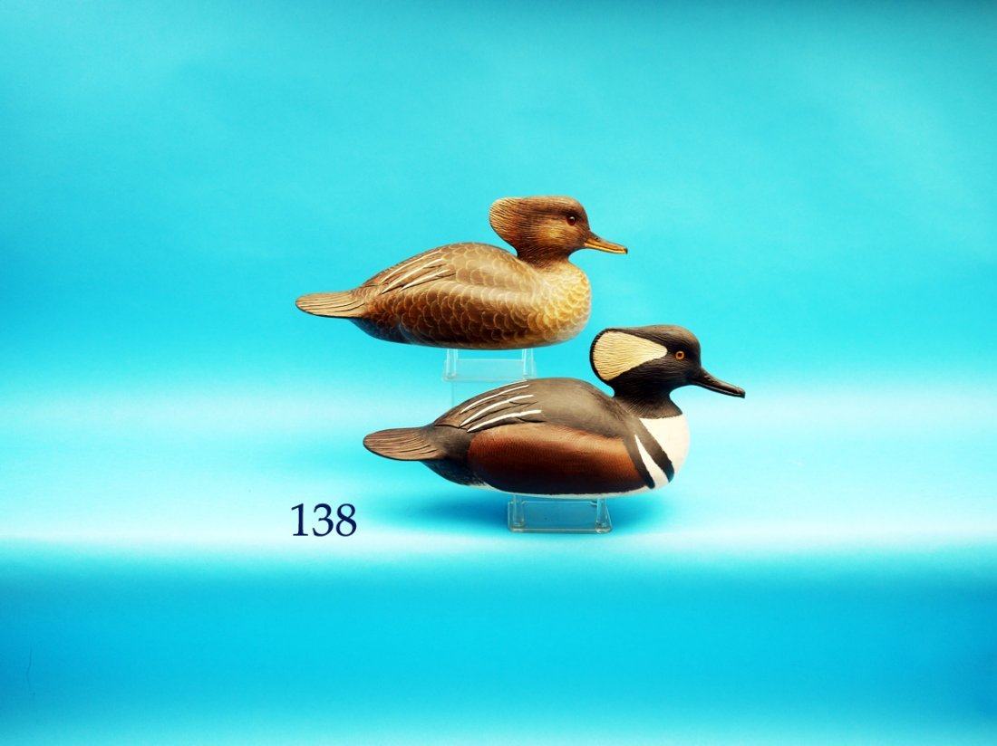 VERY FINE AND RARE PAIR OF HOODED MERGANSERS by Delbert