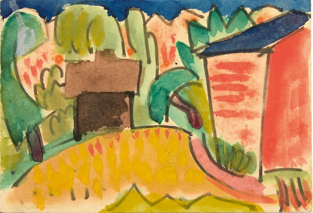 'Landscape with Houses' artist's postcard, 1921