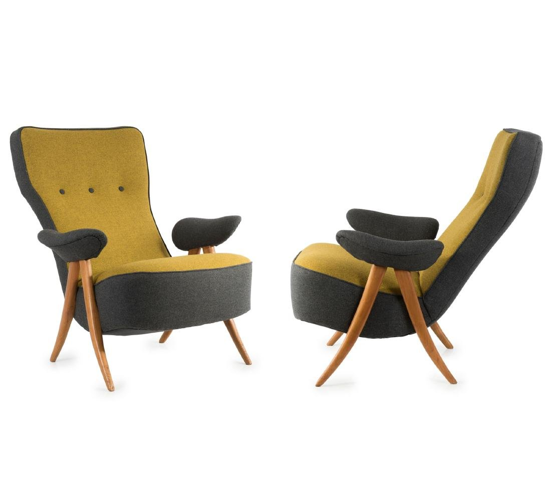 Two '105' armchairs, 1957