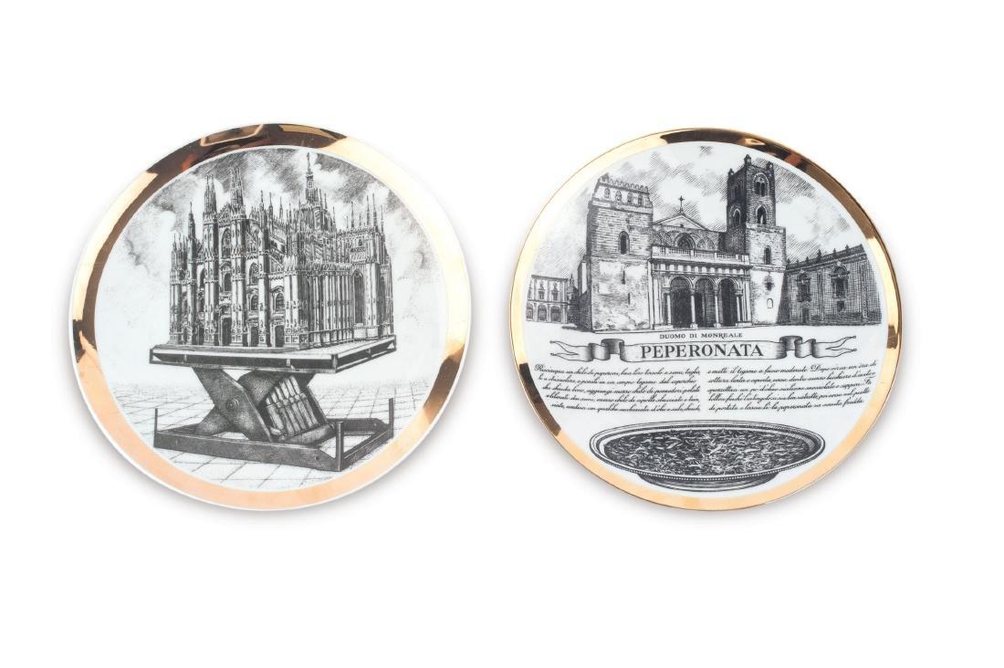 Two plates, 'Duomo di Milano' and 'Pepperonata' from