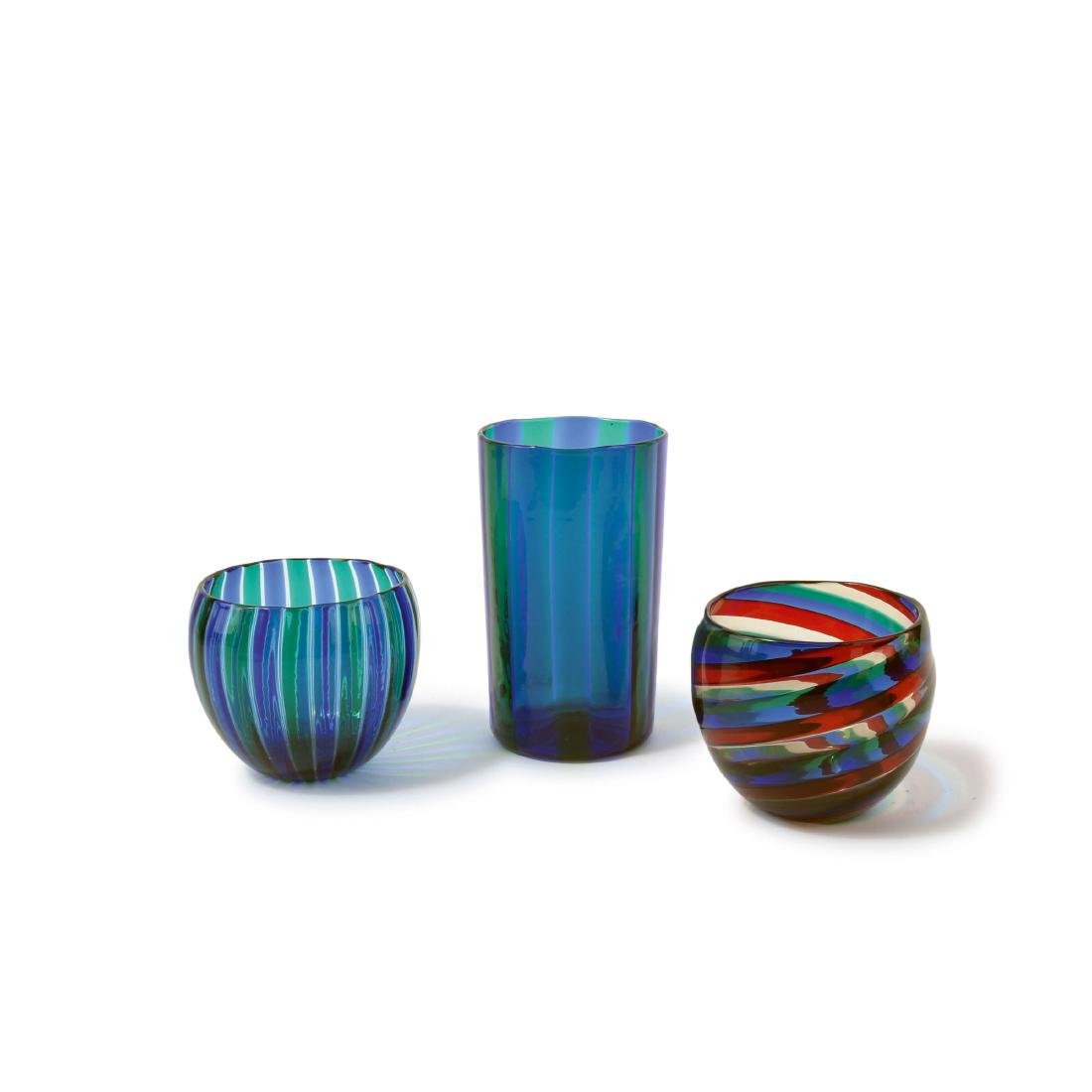 Three 'A canne' vases, 1960s