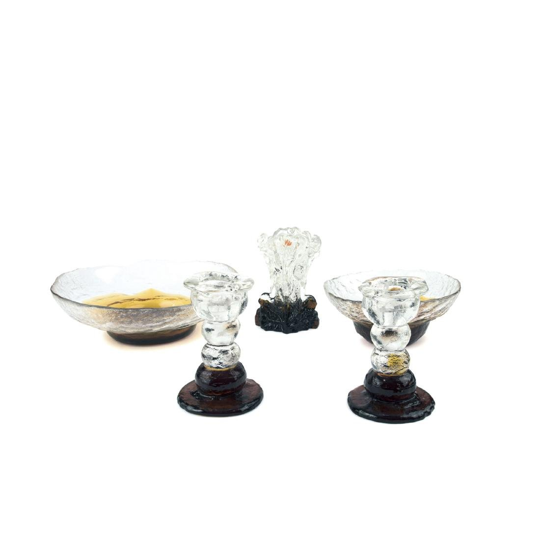 Two candlesticks, two bowls, one vase, 1970s