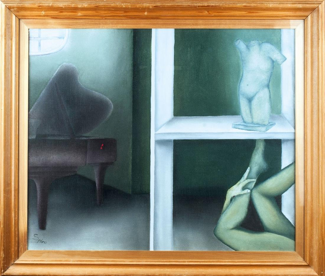Untitled (Bedroom with baby grand piano), c1960