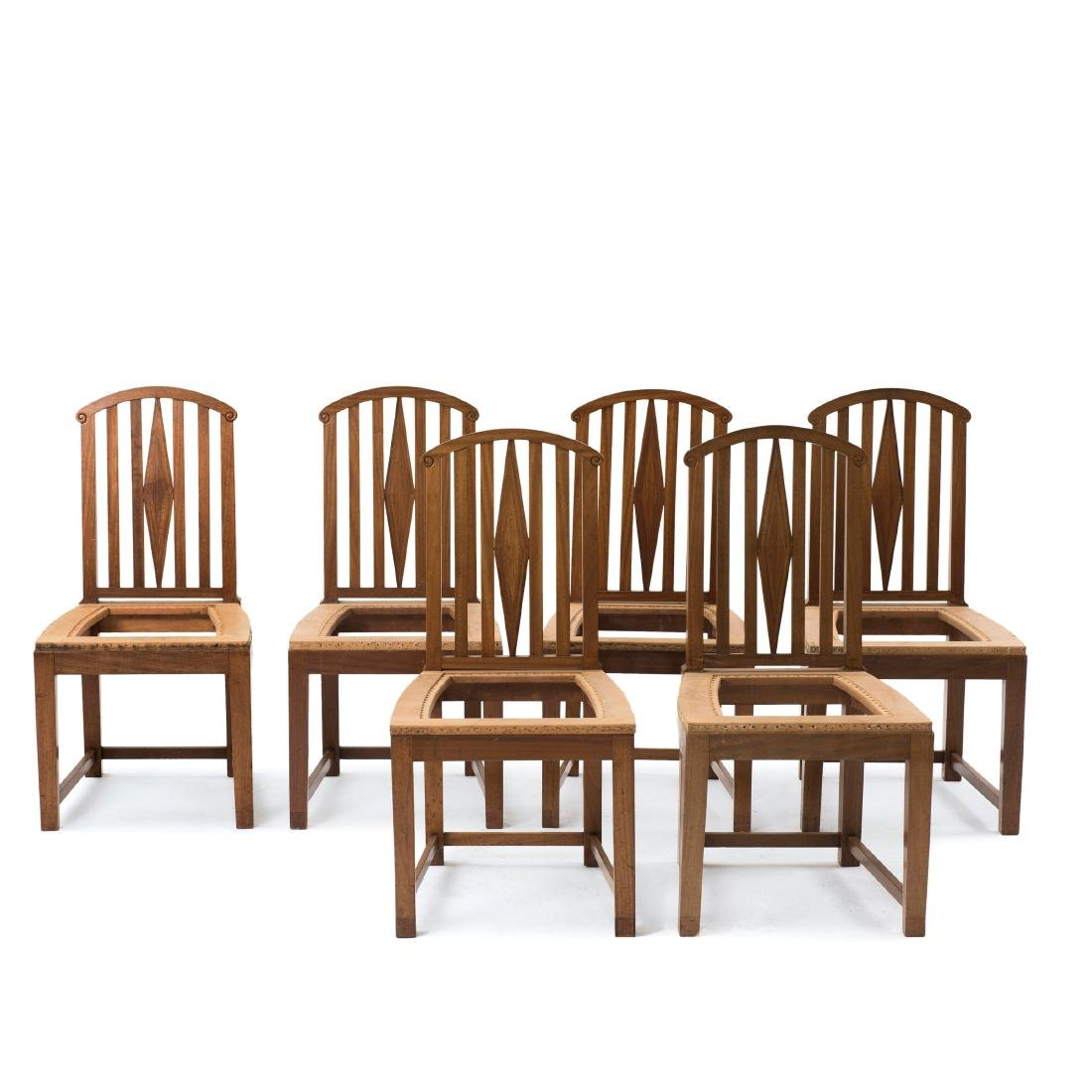 Six side chairs, designed for the designer's first