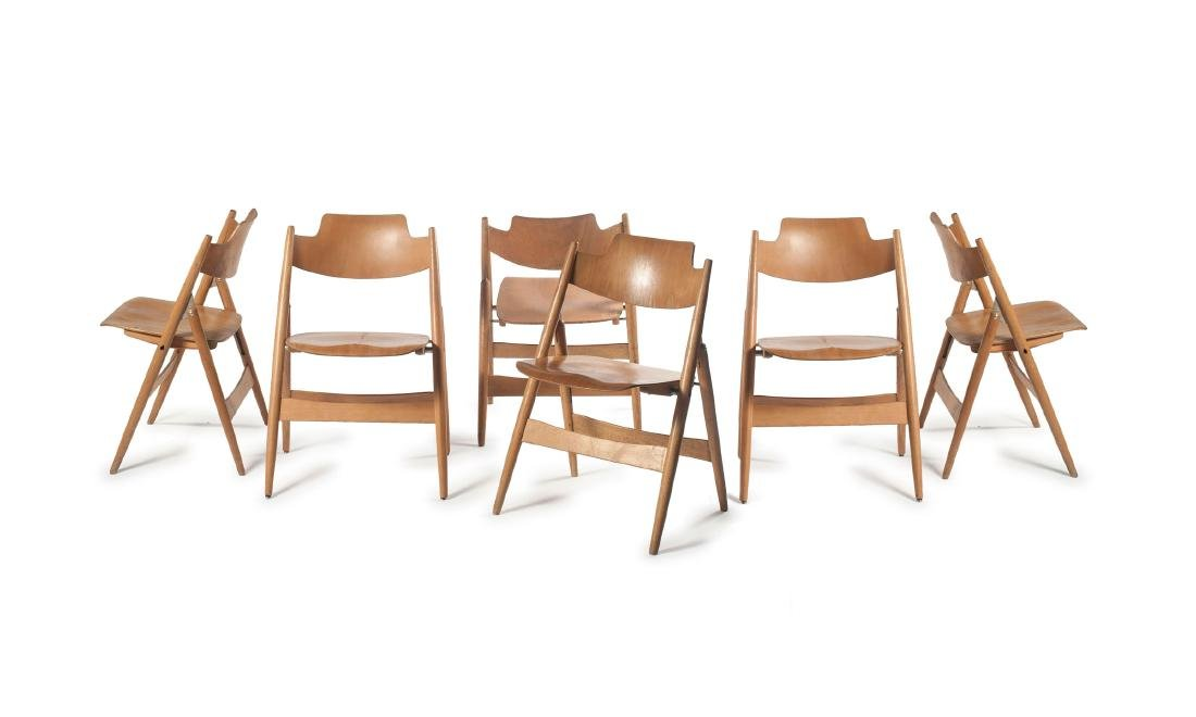 Six 'SE 18' folding chairs, 1953
