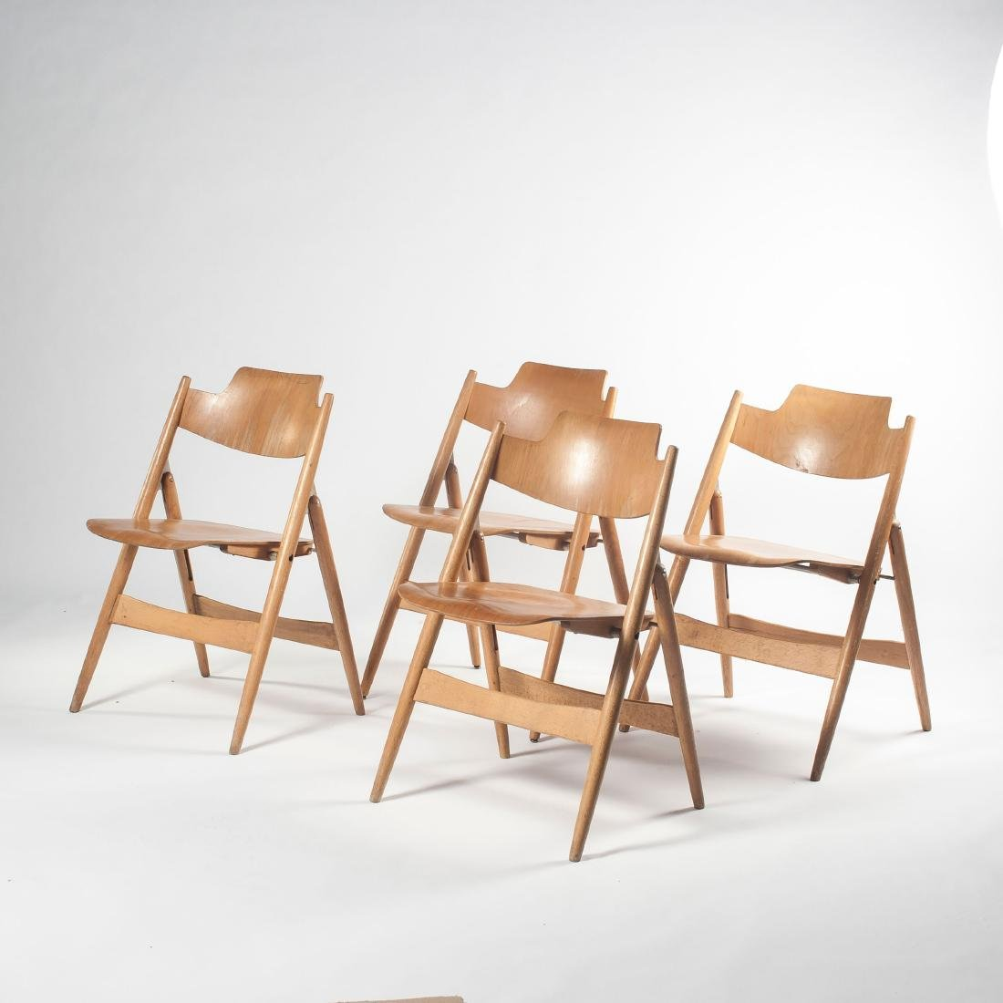 Six 'SE 18' folding chairs, 1953 - 7