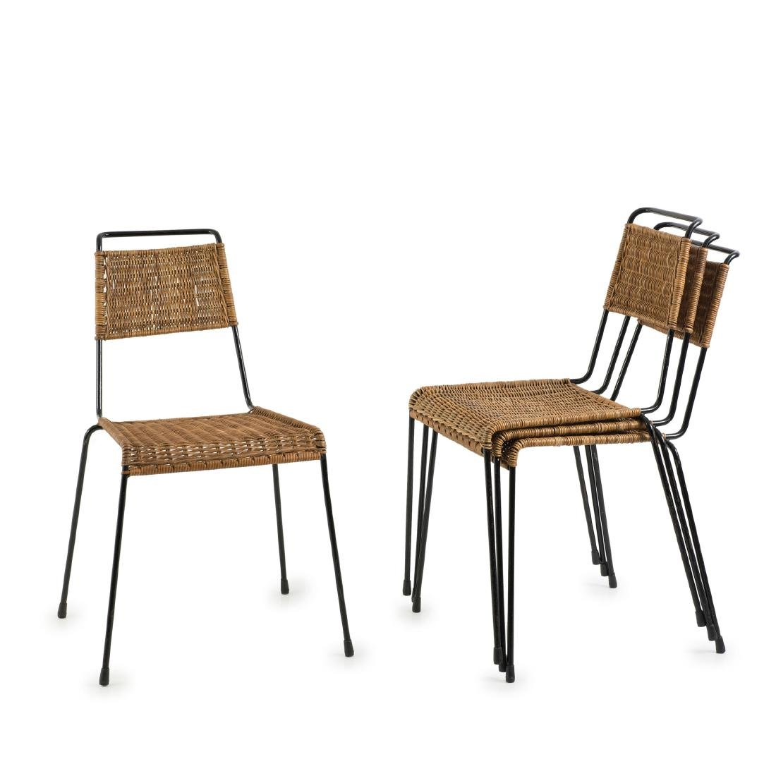 Four stacking chairs, c. 1955
