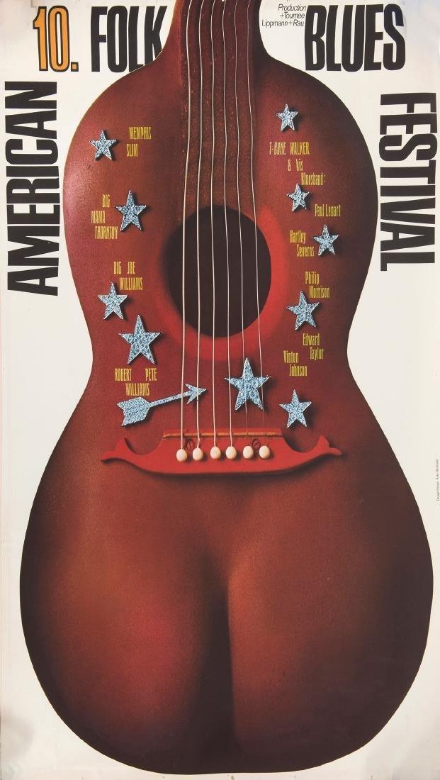 '10th Armican Folk Blues Festival' poster, 1972