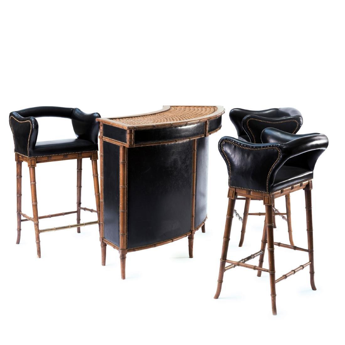 Bar counter and three bar stools, 1920/30s