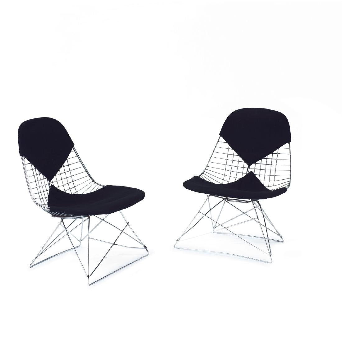 Two 'Wire mesh' chairs on 'LKR base', 1951