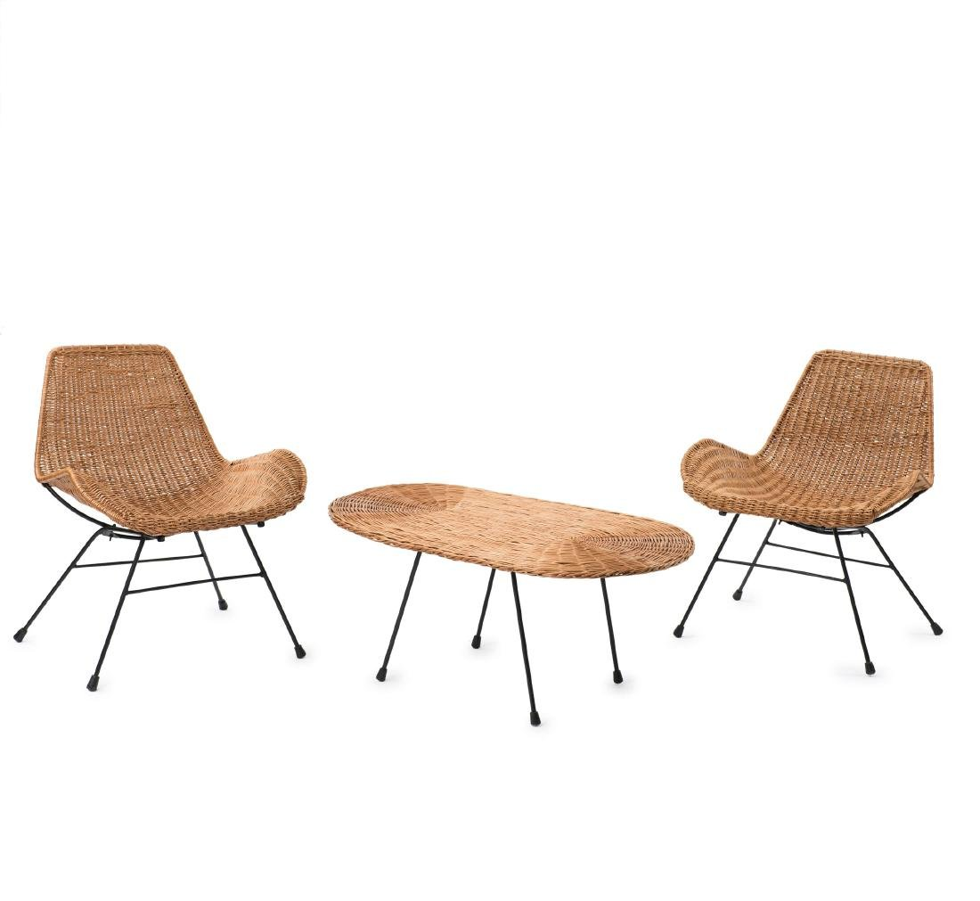 Two easy chairs and a coffee table from the 'Triva'