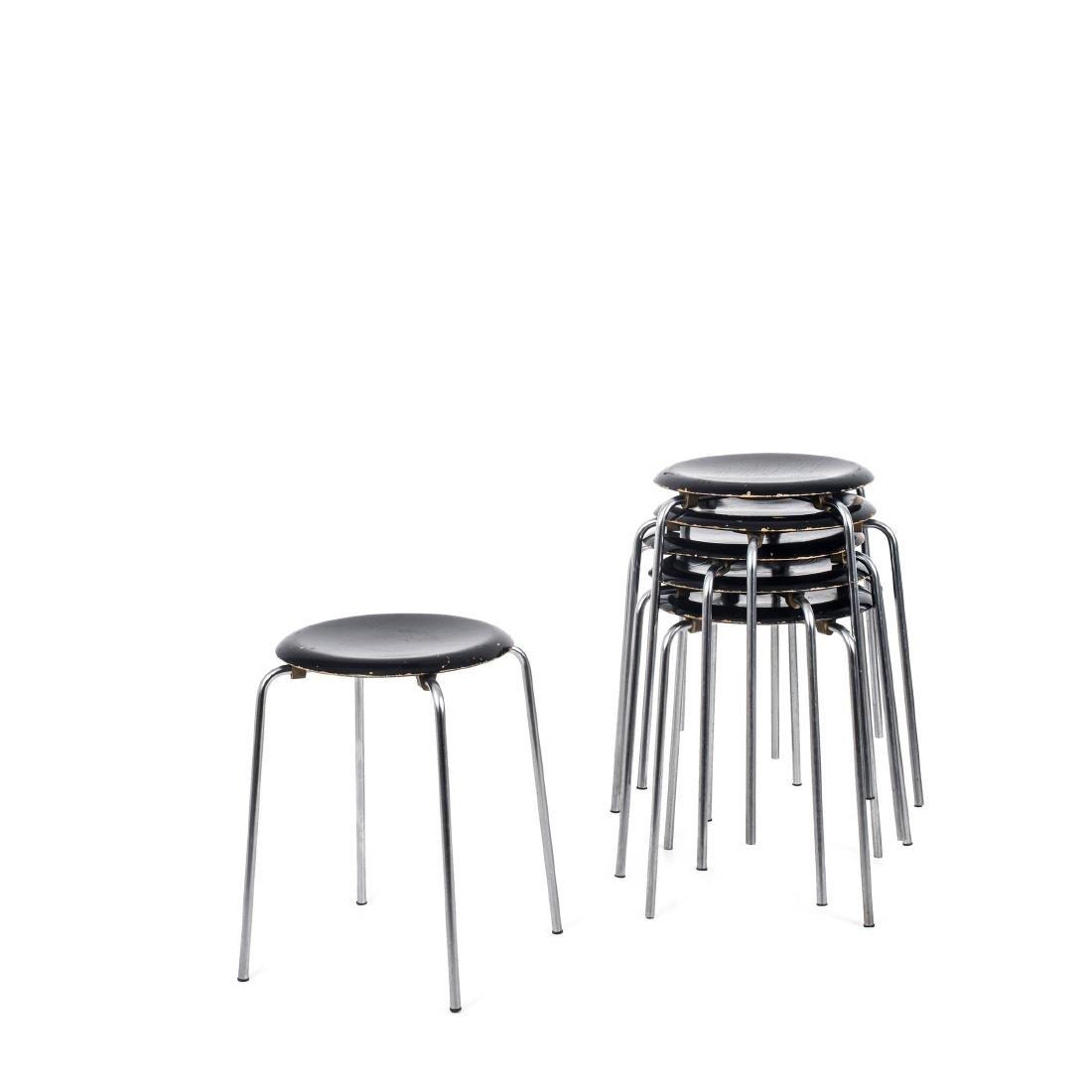 Six 'Dot' - '3170' stacking stools, c. 1955