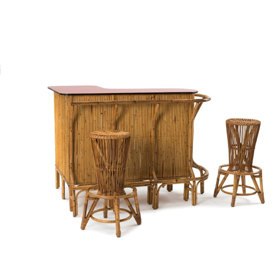 Bar counter with two bar stools, c. 1955