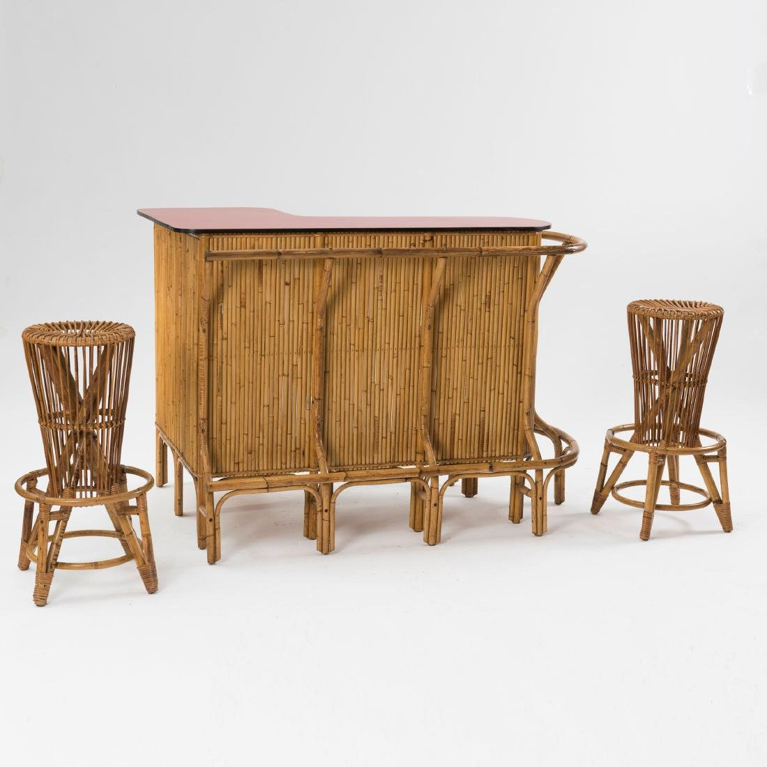 Bar counter with two bar stools, c. 1955 - 2