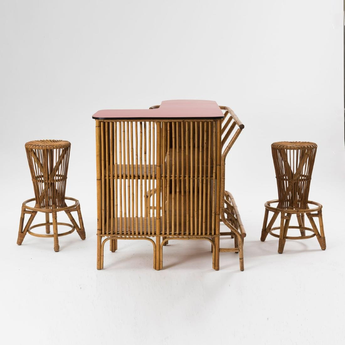 Bar counter with two bar stools, c. 1955 - 4
