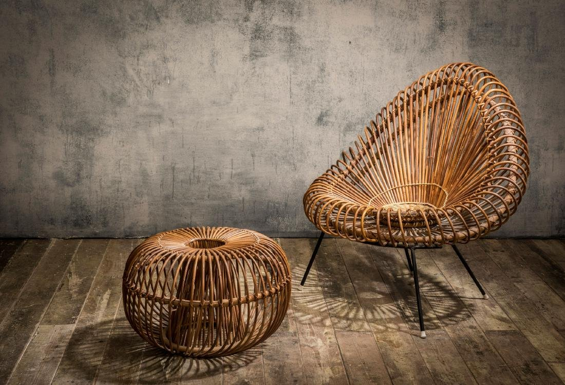 Wicker chair and ottoman, c. 1955