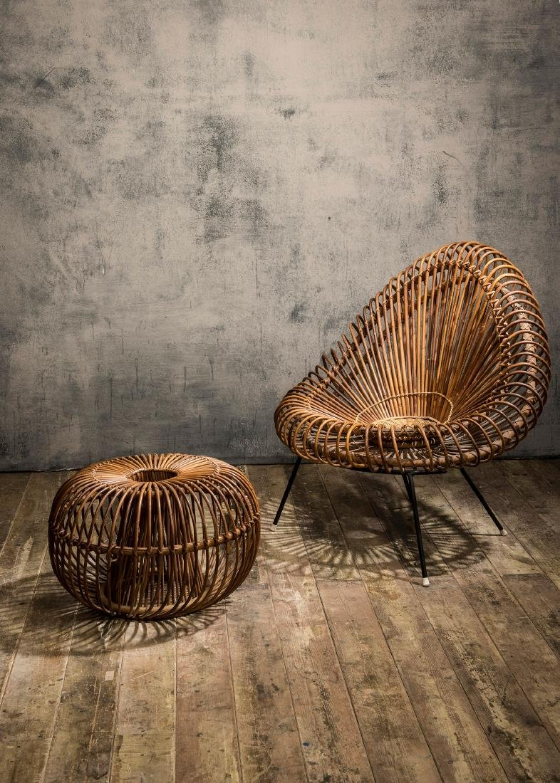 Wicker chair and ottoman, c. 1955 - 3