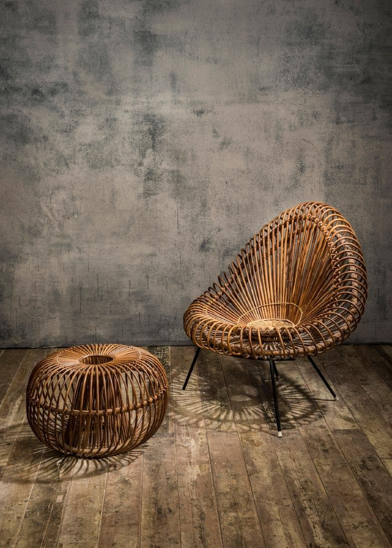 Wicker chair and ottoman, c. 1955 - 4