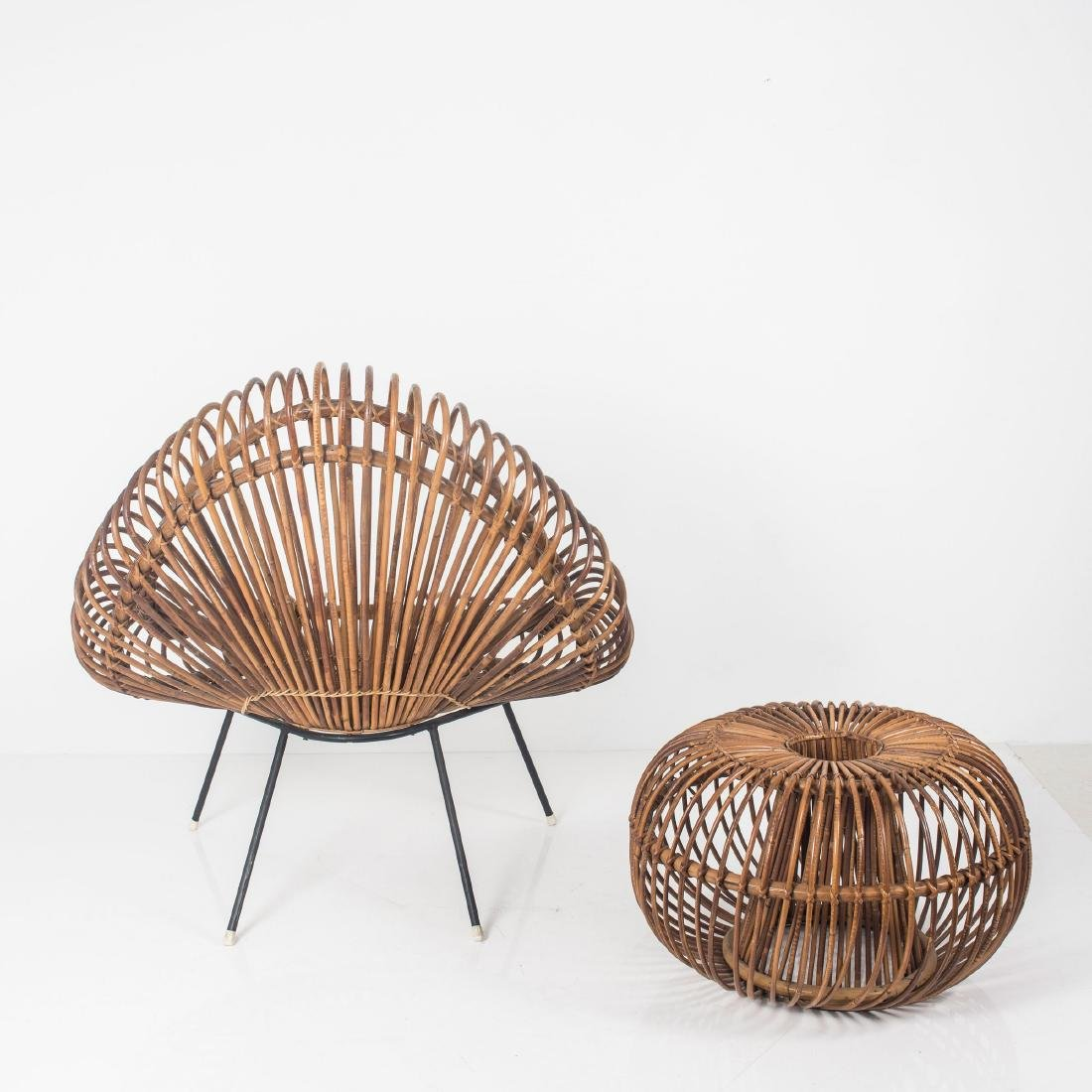 Wicker chair and ottoman, c. 1955 - 5