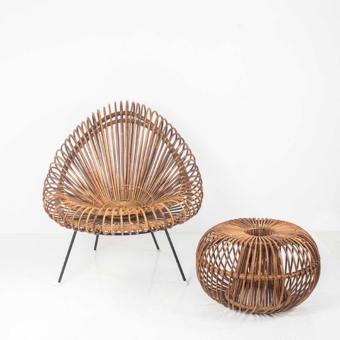 Wicker chair and ottoman, c. 1955 - 7