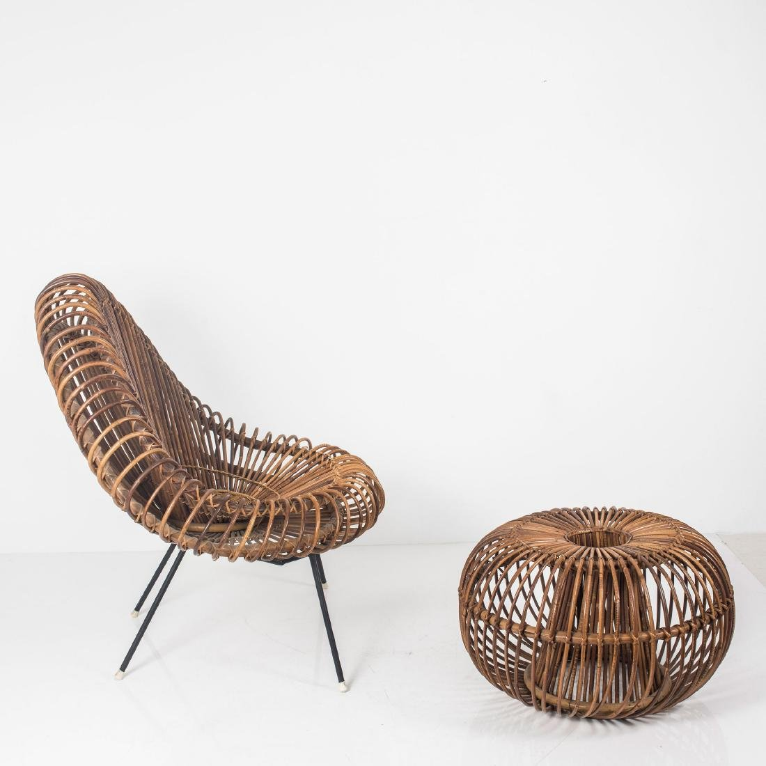 Wicker chair and ottoman, c. 1955 - 9